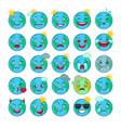 blue world globe emoticons set vector image vector image