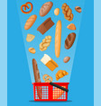 bread icons and shopping basket vector image vector image
