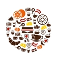 breakfast icons in circle vector image vector image