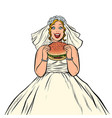 bride eats fast food burger hungry woman vector image vector image
