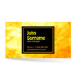 business card bright design with yellow background vector image vector image