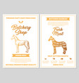 butchery shop poster with horse meat cutting vector image vector image