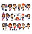 cameramen flat cartoon characters vector image vector image