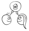 cartoon of man and woman thinking planning vector image vector image