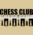 chess club banner with chess pieces and mirror vector image