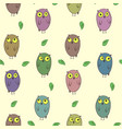 childish pattern with cute colorful owls vector image