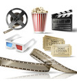cinema set 3d realistic objects vector image