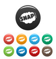 comic boom snap icons set color vector image
