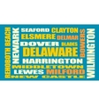 delaware state cities list vector image vector image