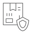 delivery protection thin line icon cargo and vector image vector image