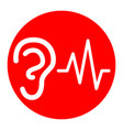 ear hearing sound sign white icon in red vector image vector image
