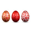 easter egg 3d icon gold red eggs set isolated vector image