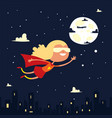 girl character little superhero fly space black vector image