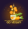go vegan card cartoon style carrot drops glass vector image vector image