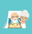 grandmother takes care feed and take a drug vector image vector image