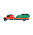 green car transporting on tow truck roadside vector image