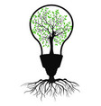 green light bulb tree vector image vector image