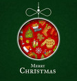hand drawn christmas elements with santa vector image