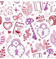 Happy Valentines day Cute doodle pattern with vector image vector image
