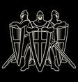 knightly design three warrior knight templar with vector image vector image