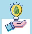 liner business man hand with leaf inside bulb vector image vector image