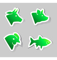 meat animals icons vector image vector image