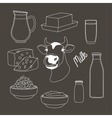 Milk set products vector image vector image