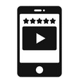 mobile phone video app icon simple style vector image vector image