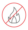 no fire thin line icon prohibited and warning no vector image vector image
