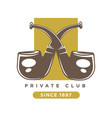 private club logo with two crossed smoking pipes vector image vector image