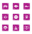 risky event icons set grunge style vector image vector image