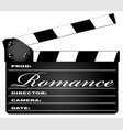 romance clapperboard vector image vector image