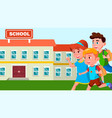 running children with backpacks on the background vector image