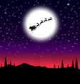 Santa sleigh on Christmas Night vector image vector image