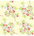seamless yellow pattern with red berry and green vector image vector image