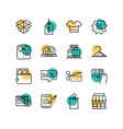 shopping commercial icons set line style dot color vector image vector image