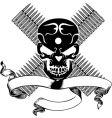 skull and bullet vintage emblem vector image vector image