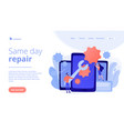 smartphone repair concept landing page vector image vector image