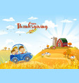 thanksgiving autumn landscape with farm vector image vector image