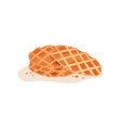 three round-shaped crispy waffles with crumbs vector image
