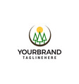 trees and sun logo forest care green concept vector image