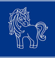unicorn white silhouette icon on the blue vector image vector image