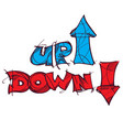 Up and down symbols lettering hand drawing