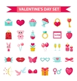 Valentines Day icon set flat style Love romance vector image