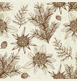 vintage seamless pattern with evergreen plants vector image vector image