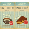 Vintage two Cards Cafe confectionery dessert Menu vector image