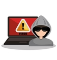 warning virus hacker laptop graphic vector image vector image
