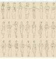 seamless pattern various evening dresses vector image