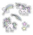 unicorn and magic wand sticker set vector image