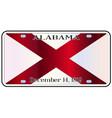alabama license plate flag vector image vector image